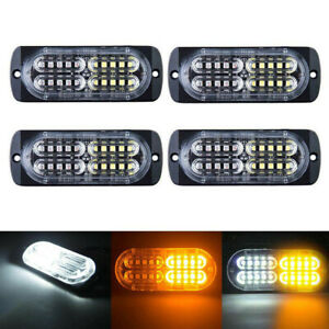 4pcs Amber White 20 Led Strobe Emergency Flashing Warning Light Tow Truck 12 24v