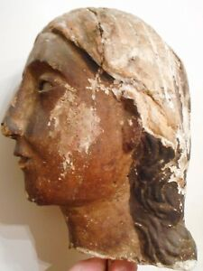 Ancient Early Antique Folk Art Wooden Head Carving W Glass Eyes Santos Icon