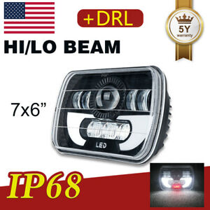7x6 Red Demon Eye Led Projector Headlight H4 Seal Beam Drl For Jeep Wrangler Yj