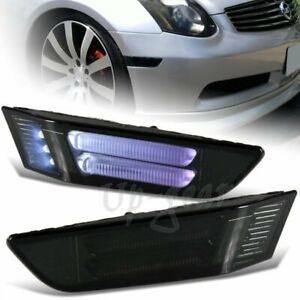 For 2003 2007 Infiniti G35 2dr Led Strip Front Bumper Side Marker Lights Smoke