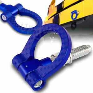 Jdm Aluminum Front Rear Carbon Look Style Racing Tow Hook Kit Blue For Bmw