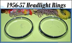 Corvette 1956 1957 Headlight Bucket Trim Ring Chrome Bezels Pair