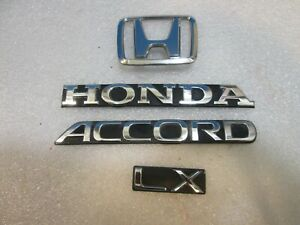 90 91 92 93 Honda Accord Lx Rear Lid Chrome Emblem Logo Badge Sign Symbol Set
