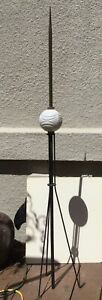 Antique Lightning Rod With Moon And Stars Milk Glass Rod Ball