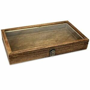 Brown Wood Glass Top Lid Black Pad Display Box Case Medals Awards Jewelry Best
