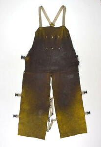 Lot Of 2 Leather Welding Overalls Apron Bib Work Adjustable Pants Safety