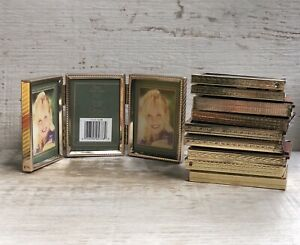 Vintage Lot 7 Mcm Metal Gold Photo Picture Frames Double Triple Wedding