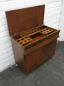 Mid Century Modern Bar Liquor Cabinet Server Buffet Secretary Desk 9674a