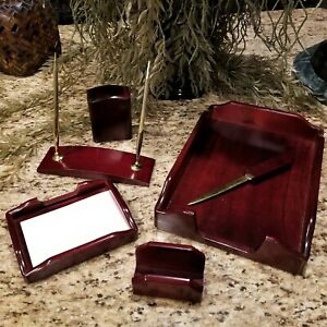 Cherry Wood Executive Desk Pen Set Business Card Holder Letter Tray