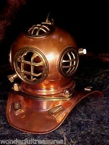 Beautiful Vntg Genuine Copper Brass Nautical Divers Diving Helmet Desk Size