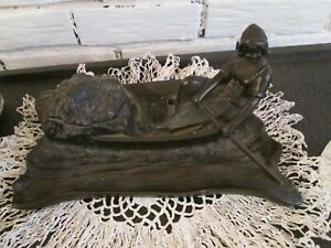 Large Art Nouveau Metal Inkwell Dutch Woman Rowing A Boat
