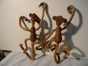 Mid Century Modern Teak Monkeys Teak Wood Rope Pair Cool