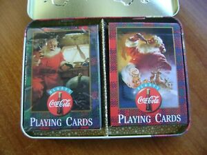 coca cola xmas double deck santa cards in decorative tin pre owned excellent.
