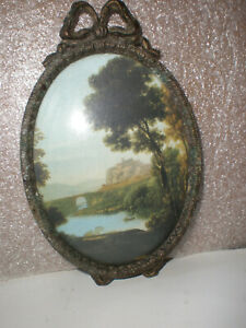 Vintage Mountain Scene Art Picture Convex Bubble Glass Small Oval Frame 5 Italy