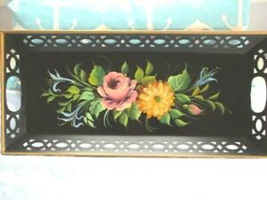 Gorgeous Vintage Near Mint Hand Painted Pink Yellow Blue Flowers Tole Tray