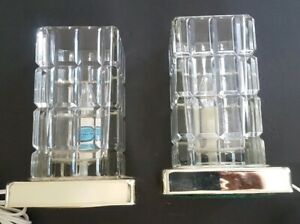 Mid Century Modern Cut Glass Accent Lamp Block Square Rectangle Pair