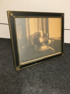 Antique Victorian Picture Frame 10x8 Brass Filigree Black Painted Border