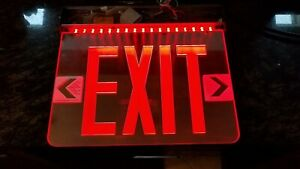 Red Led Emergency Exit Light Sign Ceiling Edge Lit Battery Backup Alum Mirrored