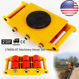 Pu Steel Wheel Dolly Skate 360 rotation 8t Industrial Machinery Mover Yellow Usa
