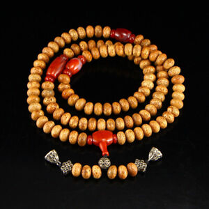 Vintage Bodhi Beads Nanhong Agate Prayer Necklace