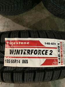 2 New 185 65 14 Firestone Winterforce 2 Snow Tires