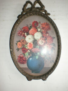 Vintage Floral Art Picture Convex Bubble Glass Small Oval Frame 5 Italy