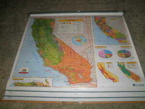 Nystrom 1c1 Pull Down California World U S A School Map Home School Markable