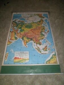 Rand Mcnally Asia Pull Down Map Geography Home Charter School Markable