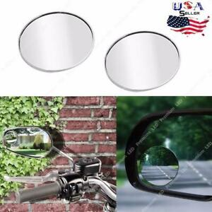 2pcs Round 2 Stick On Rearview Blind Spot Convex Wide Angle Mirrors Car Truck