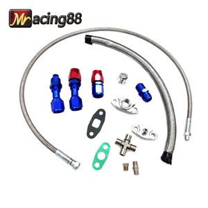 Turbo Charger Oil Drain Return Feed Line T3 T4 T04e T60 T61 T70 Complete Kit
