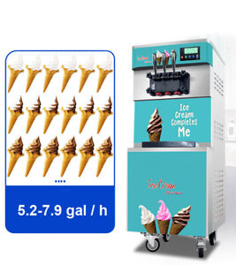 3flavor Soft Serve Ice Cream Freezer Machine Comercial Air Cooled Ice cream Cone