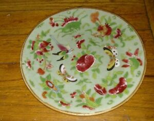 Antique Chinese Porcelain Celadon Plate With Birds Butterfly Flowers Decoration