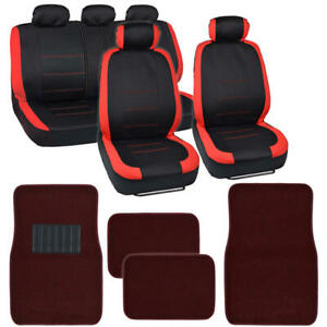 13 Pc Car Seat Covers Carper Floor Mats Set Split Bench For Sedan Truck Van
