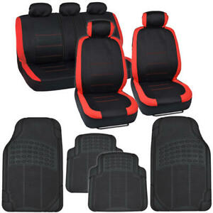 13 Pc Car Seat Covers Rubber Floor Mats Interior Set Red black Auto Truck Suv