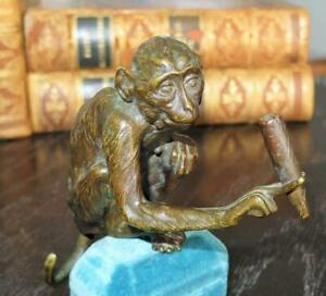 19th Century Bronze Cigar Smoking Monkey Rare