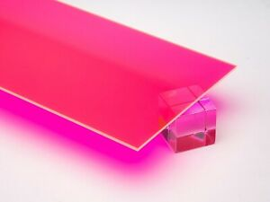 Acrylic Pink red Fluorescent Plexiglass 1 8 X 12 X 24 Sheet 9093