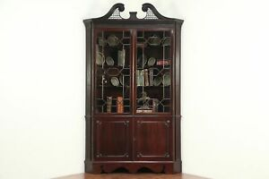 Georgian 1820 Antique Mahogany Corner China Cabinet Or Cupboard England 28928