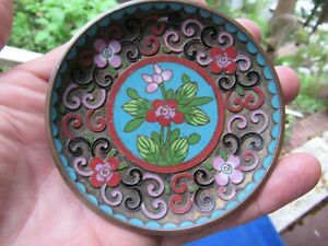 Antique Chinese Raised Cloisonne Dish Plate