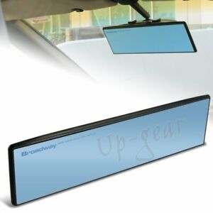 Universal Broadway 270mm Wide Flat Interior Clip On Rear View Blue Tint Mirror