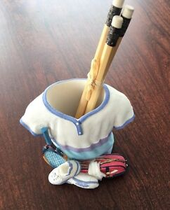 Unique Ceramic Women s Tennis Outfit Pencil Pen Holder Desk Organizer