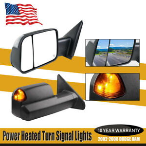 Towing Mirrors For 02 06 2007 08 Dodge Ram 1500 2500 Heated Flip Up Signal Light