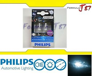 Philips X treme Led Light 194 White 6000k Two Bulb License Plate Replace Stock