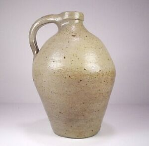 Antique 19th C Stoneware Salt Glazed Ovoid Jug Small 7 5 Inches Tall