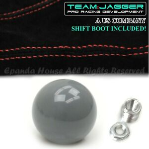 For 70 04 Ford Mustang M12 Round Gray Manual Gear Shift Knob Red Stitch Boot