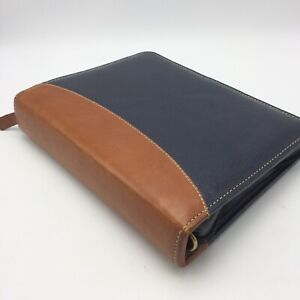 Franklin Quest Covey 2 Tone Leather Classic Planner Zip Binder Black W Brown Usa