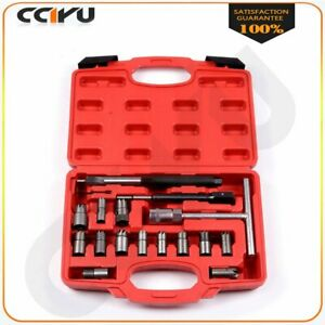 For Renault Bosch 17pcs Diesel Injector Seat Cutter Set Remover Tool