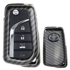 Exact Fit Black Carbon Fiber Fob Shell For 2018 Up Toyota Camry Flip Blade Key