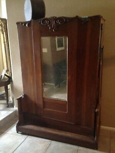 Antique Rare Oak Armoire Murphy Bed Double With Weights C 1850