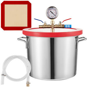 2 Gallon Vacuum Chamber Stainless Steel Kit 160 f Silicone Gasket Epoxies