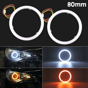 2x 80mm White Amber Switchback Led Angel Eyes Halo Rings Car Headlight Retrofit